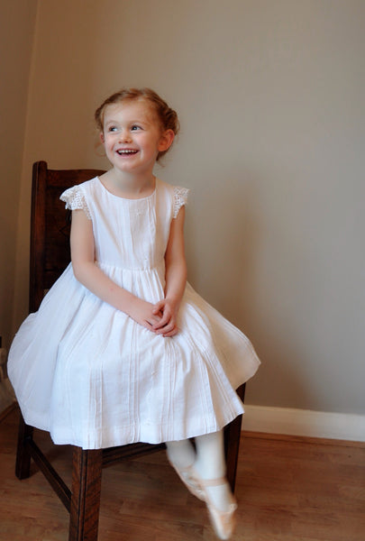 Girls dress handmade in soft cotton with pin tuck details and lace sleeve 'Truly Scrumptious'