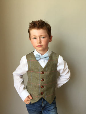 'Matthew Crawley' Boys waistcoat handmade in a soft neutral green British Tweed