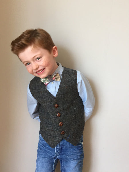 'Albert Perks' Boys waistcoat handmade in charcoal grey wool check