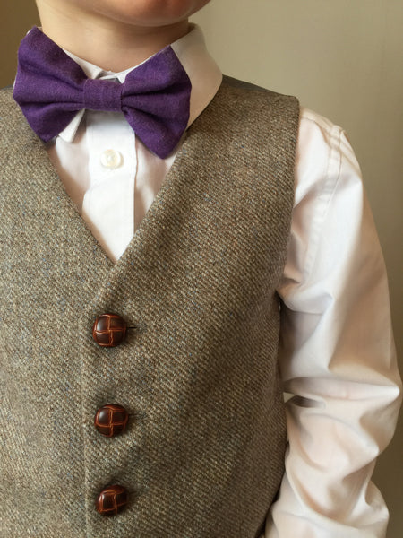 boys waistcoat, British Tweed, pageboy outfit, toddlers fashion, Tweed waistcoat, light brown - Aslan