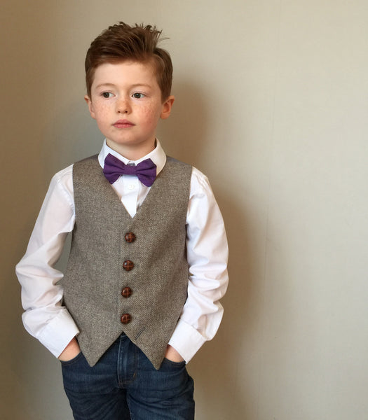 boys waistcoat, British Tweed, pageboy outfit, children's fashion, Tweed waistcoat, light brown - Aslan
