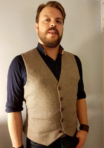 mens waistcoat, British Tweed, pageboy outfit, mens fashion, Tweed waistcoat, light brown waistcoat - Aslan