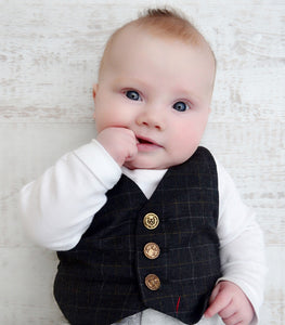 Baby waistcoat, toddler waistcoat, baby waistcoat and baby grow, Baby pageboy, baby fashion, boys christening outfit