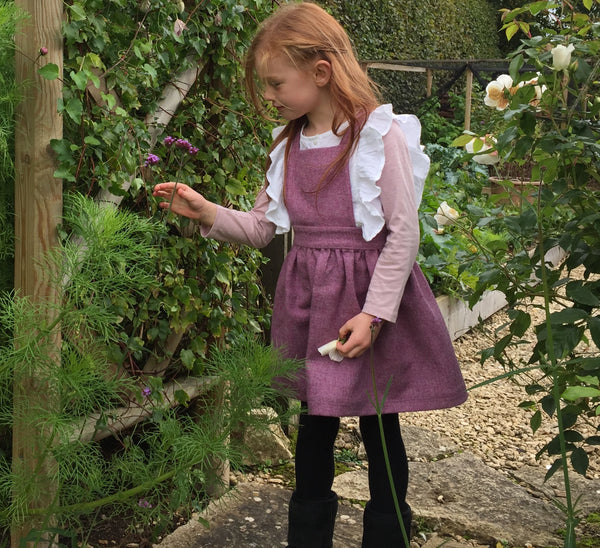 Girls Pinafore handmade in a pink pure British Tweed 'Beatrix' - Mulberry