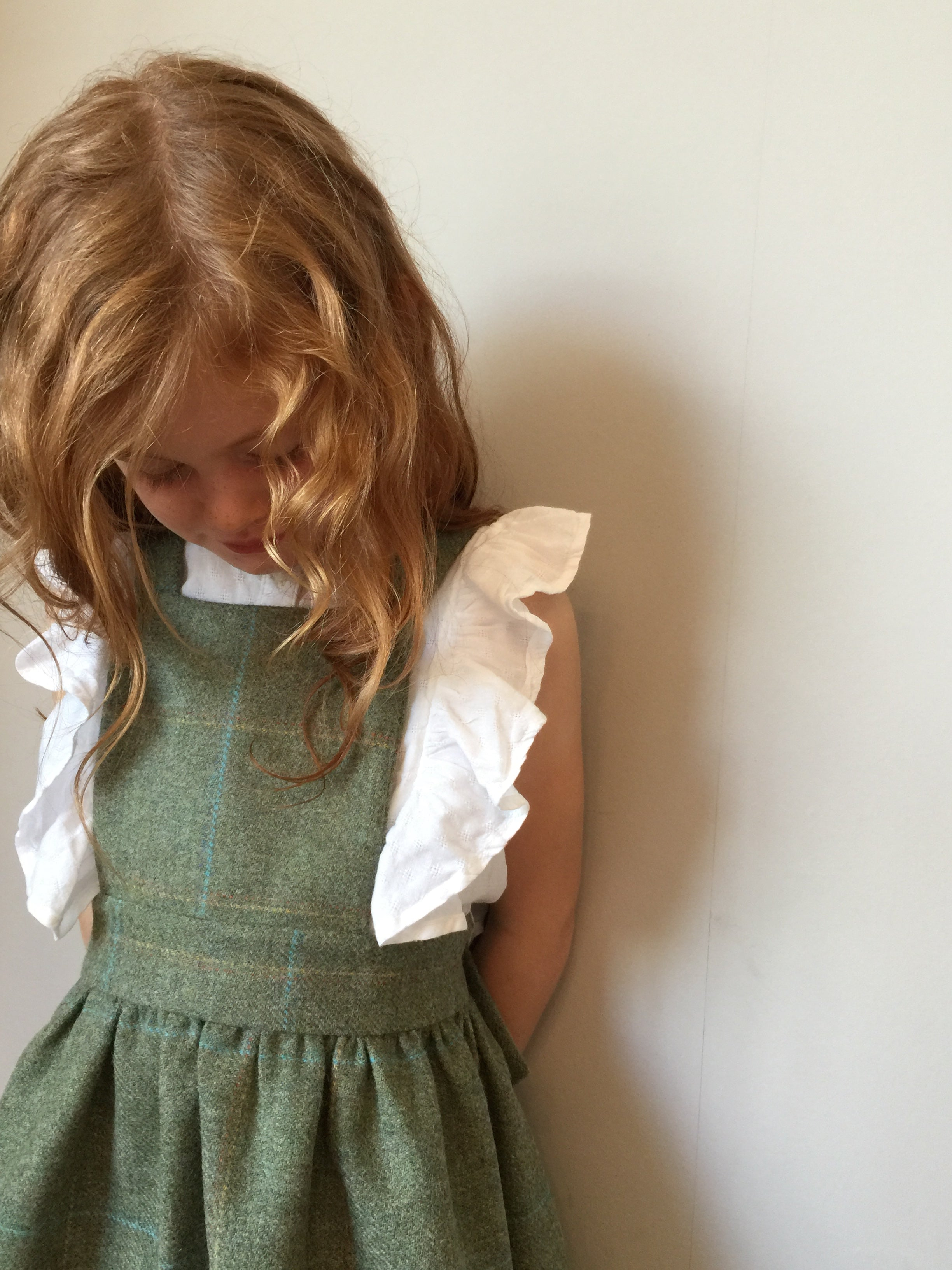 'Beatrix' Girls Pinafore handmade in soft green Pure British Tweed with subtle blue check - Lord M