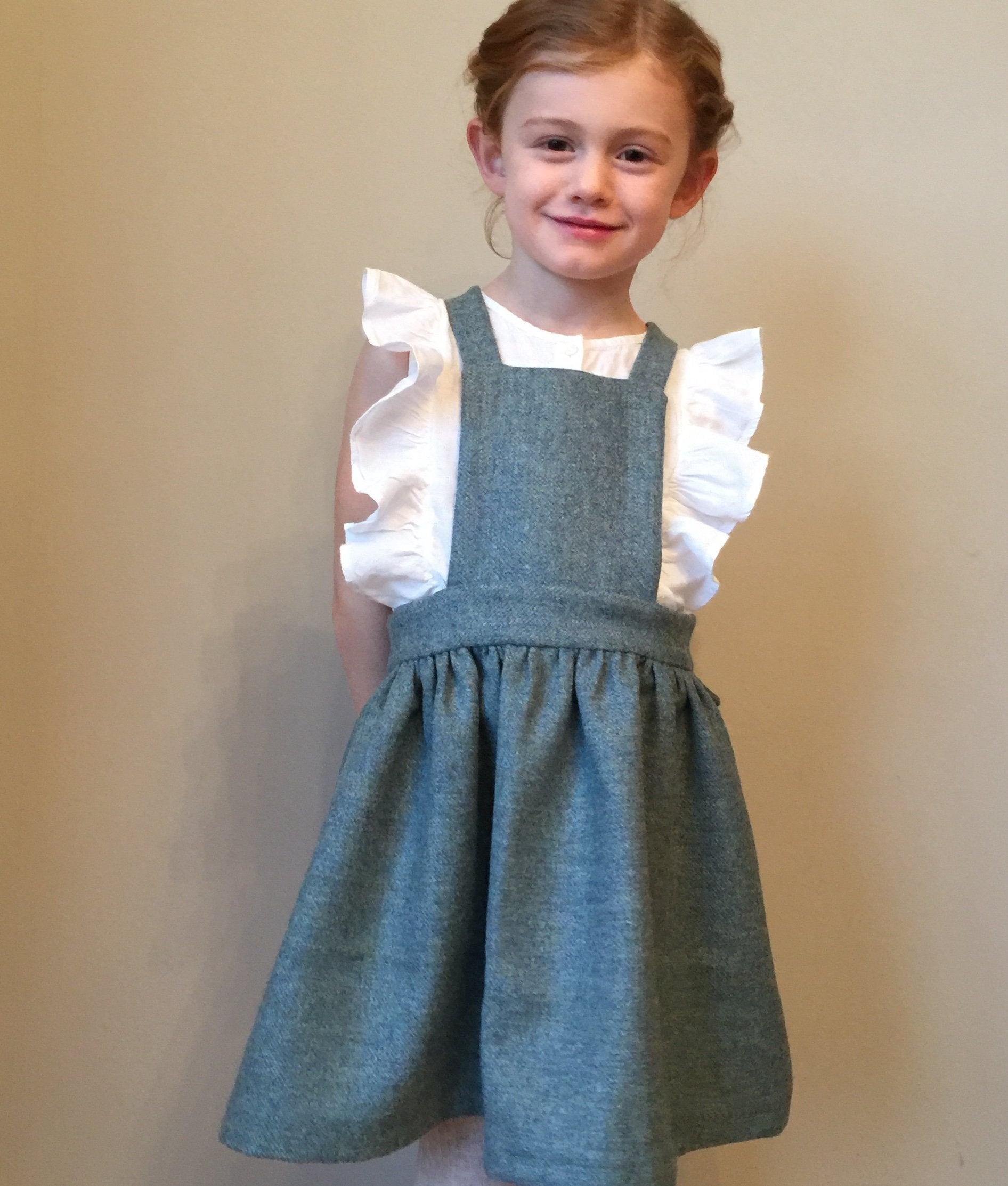 'Beatrix' Girls Pinafore handmade in a blue green pure British Tweed  - Windsor