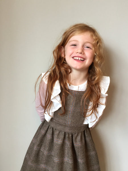 'Beatrix' Girls Pinafore handmade in soft brown Pure British Tweed with subtle pink check - William Blake