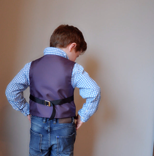 Sample Boys waistcoat 4-5 years handmade in charcoal grey wool with yellow, purple, pink and white check. 'Edward Ferrars'