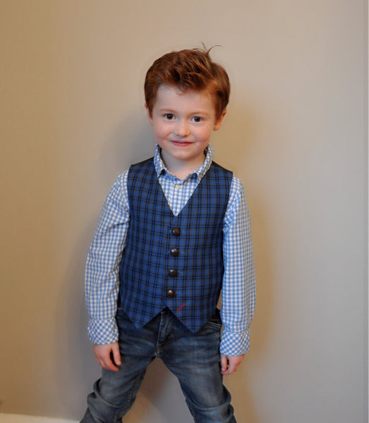 Sample Boys waistcoat 4-5 years in a blue and black check 'Jack Dawkins'