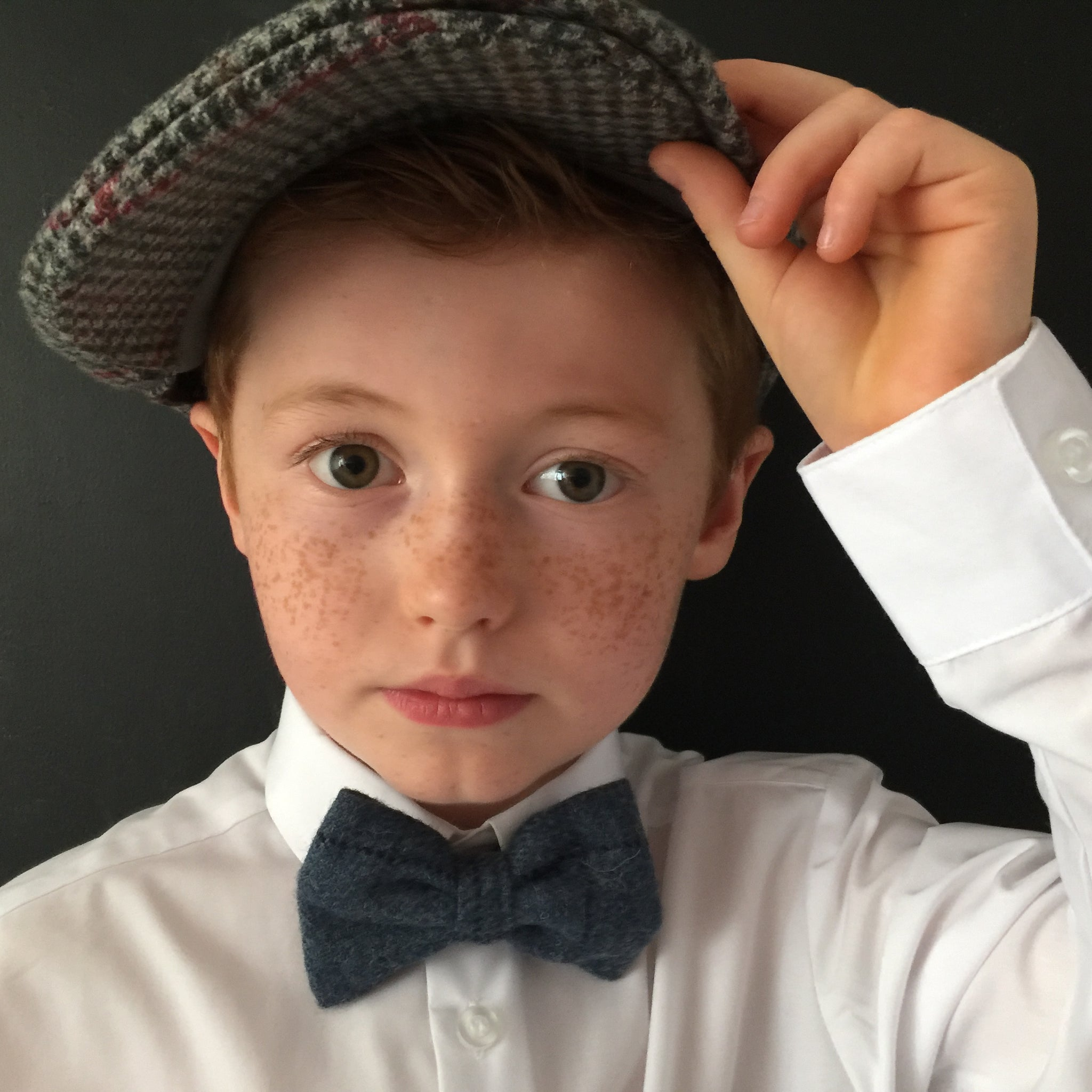 Boys Blue tweed bow tie, boys bow tie, mens bow tie, bow ties made to order, pageboy bow tie, groom bowtie - Earl of grantham