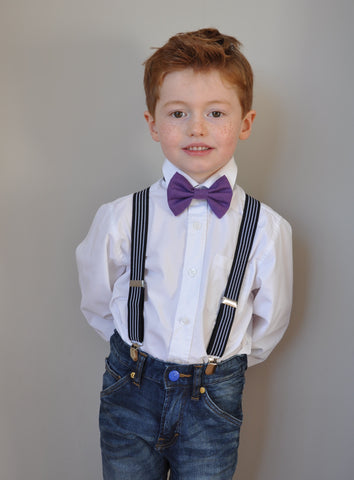 Boys purple bow tie, boys bow tie, mens bow tie, bow ties made to order, pageboy bow tie, groom bowtie - George Bailey