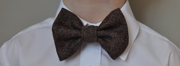 Boys brown bow tie, boys bow tie, mens bow tie, bow ties made to order, pageboy bow tie, groom bowtie - Charlie Rawlins