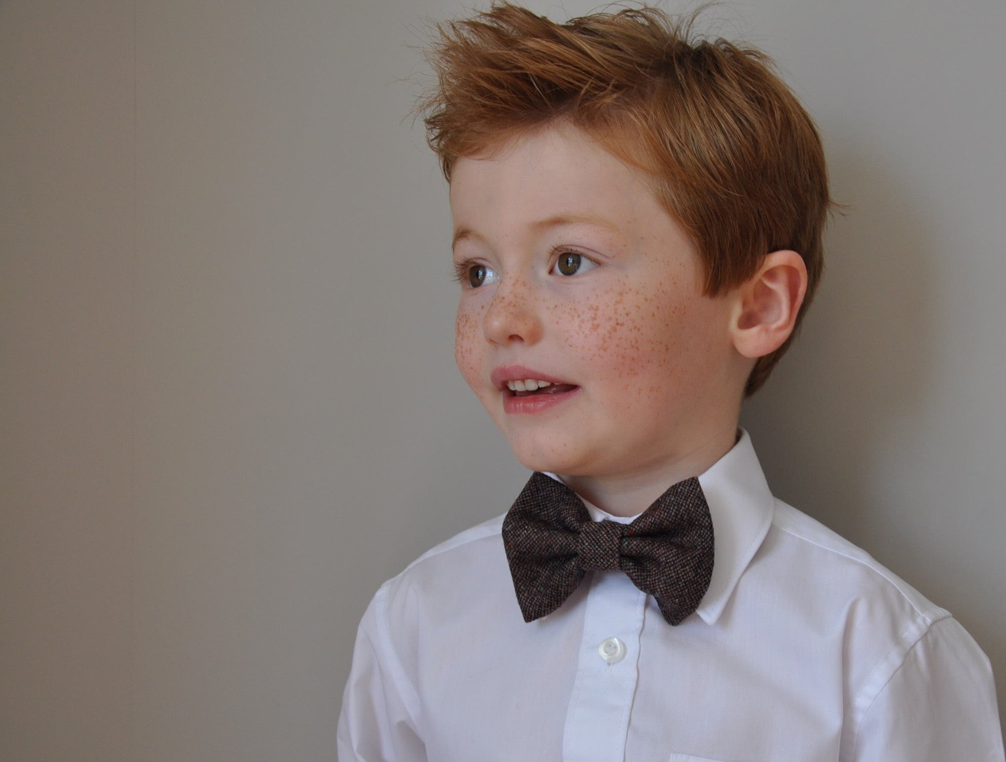 Boys brown bow tie, boys bow tie, mens bow tie, bow ties made to order, pageboy bow tie, groom bowtie - Charlie Rawlings