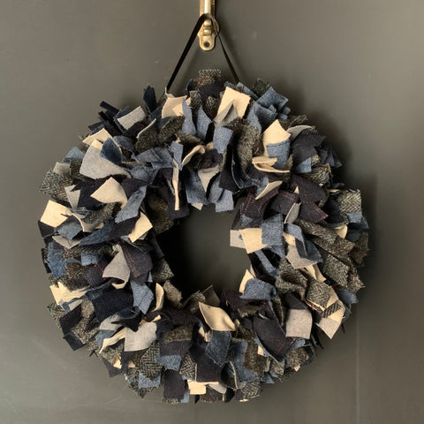 Luxury British Tweed mixed blue Christmas wreath