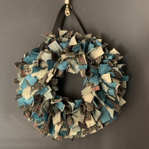 Luxury large British Tweed mixed teal Christmas wreath