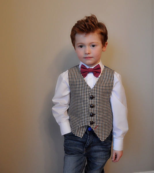 sample 'Nick Carraway' 4-5 years Boys waistcoat handmade houndstooth check