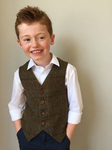 Boys waistcoat, British Tweed waistcoat, pageboy outfit, boys clothing, brown check waistcoat - christopher robin