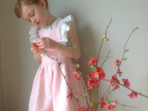girls pinafore dress, pink pinafore dress, girls fashion, linen pinafore dress, girls clothes