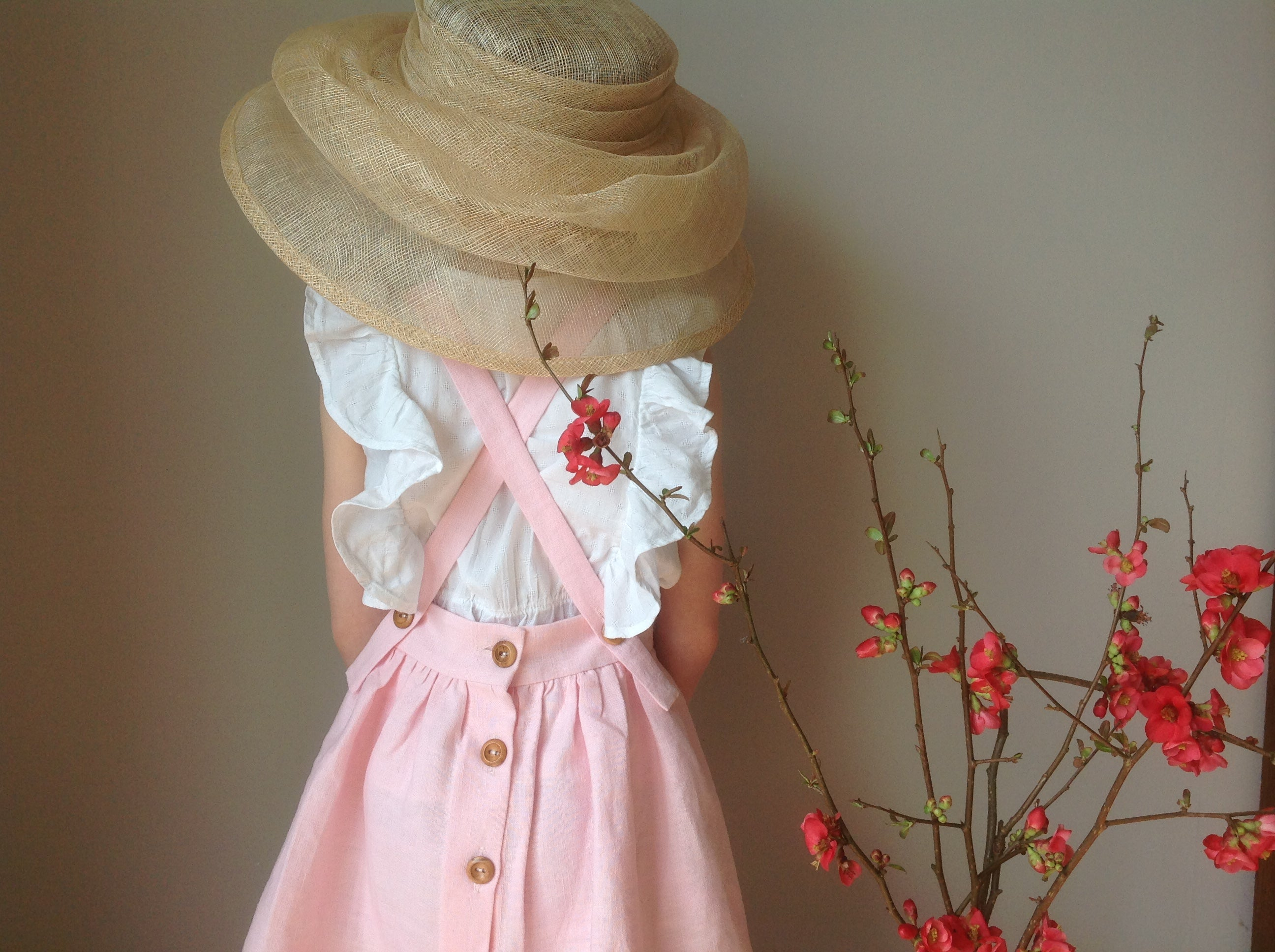 'Emmeline' Girls linen Pinafore handmade in soft champagne pink