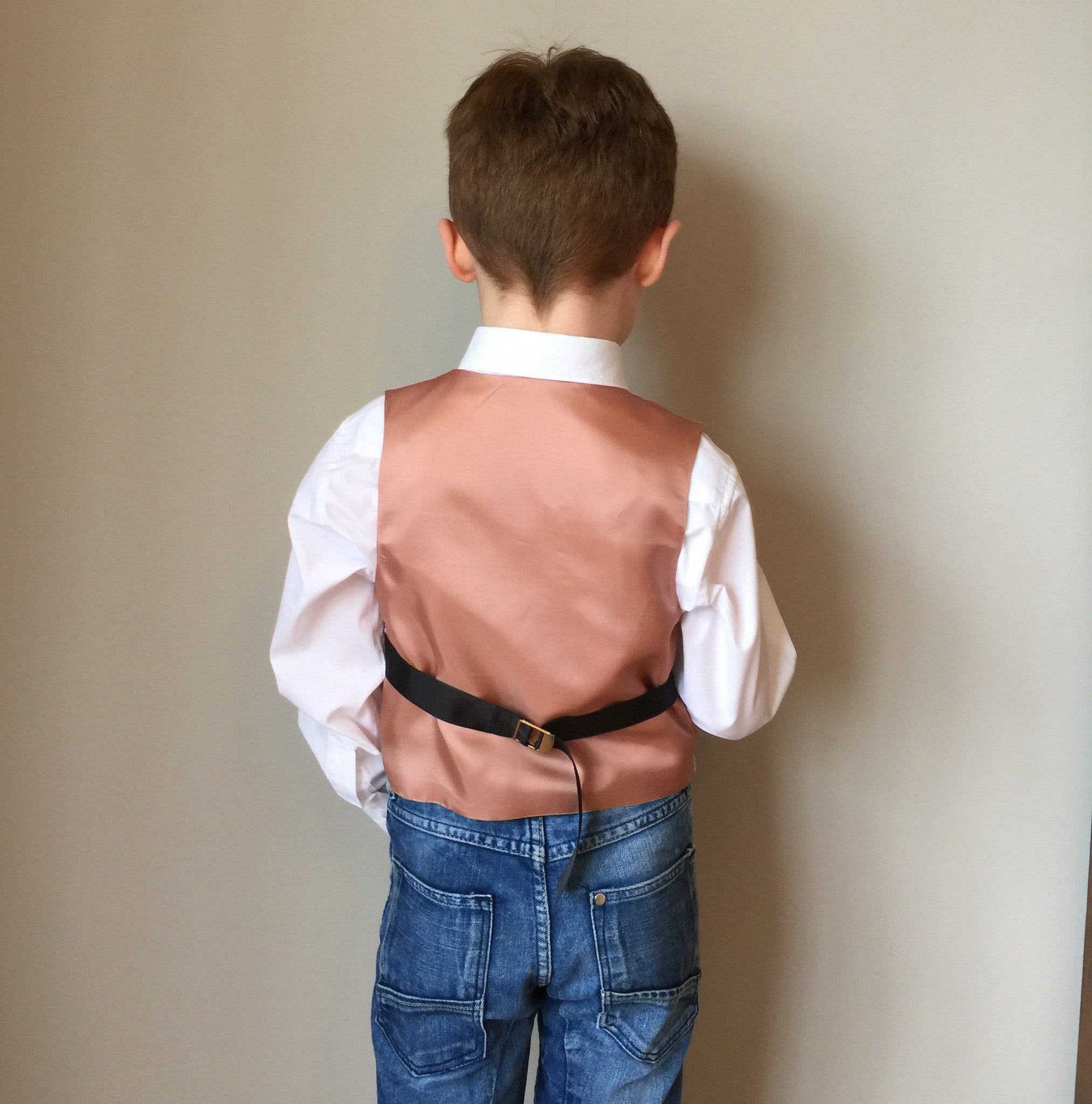 sample 'Romeo' Boys waistcoat handmade in a soft fawn and cream houndstooth