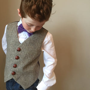 'Geppetto' Boys waistcoat handmade in a gentle neutral wool