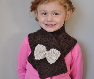 Hand knit scarf in chocolate brown with oatmeal bow