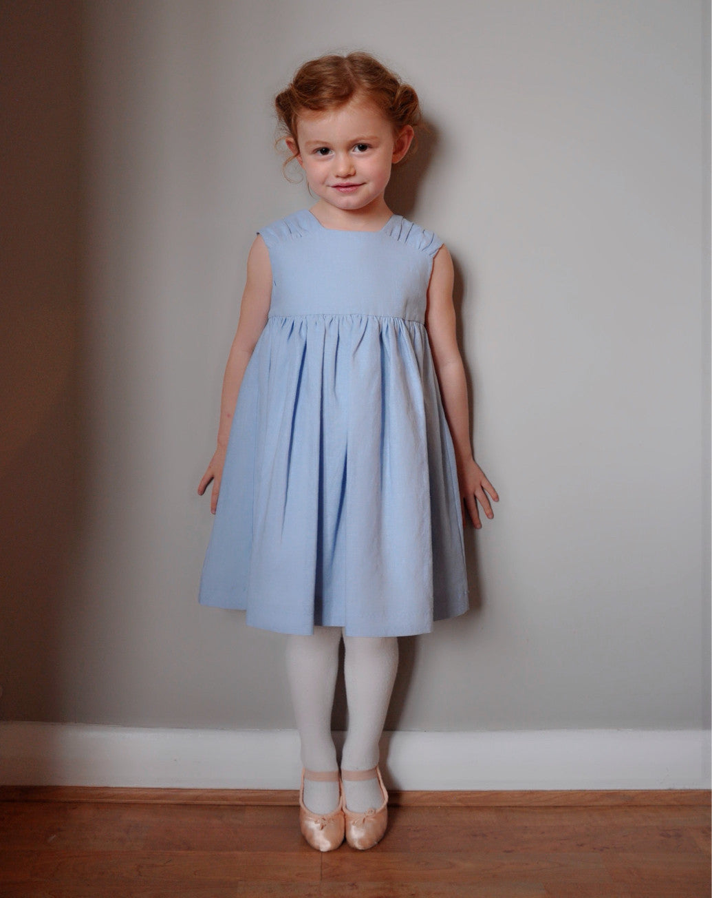 Girls dress handmade in a soft blue linen 'Pretty Wedgewood'