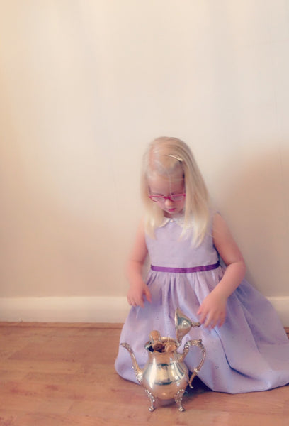 Sample Girls dress handmade in a soft lilac broidery anglaise with vintage lace collar  'Vintage Lavender'