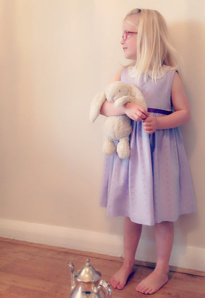 Girls dress handmade in a soft lilac broidery anglaise with vintage lace collar  'Vintage Lavender'