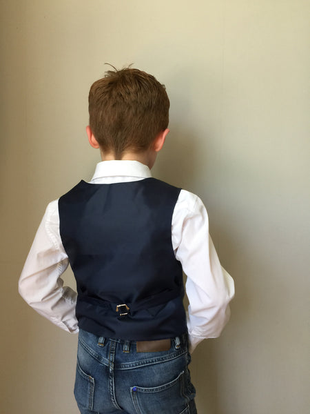 Boys waistcoat, British Tweed waistcoat, pageboy outfit, boys clothing, blue with dark blue over check waistcoat - earl of grantham