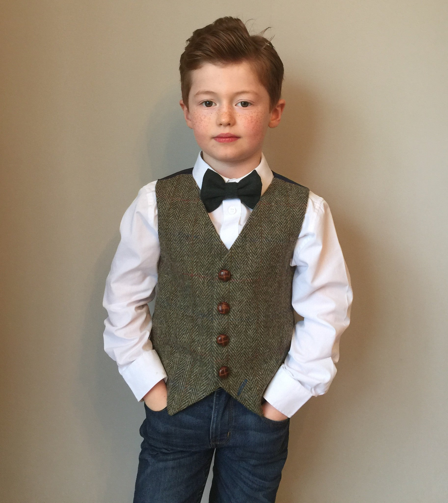 sample 'Green Gables' Boys sample waistcoat handmade in Harris Tweed
