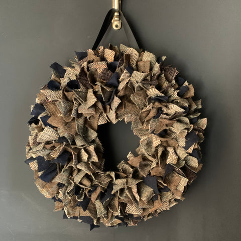 Luxury large Harris Tweed Christmas wreath with Navy highlights
