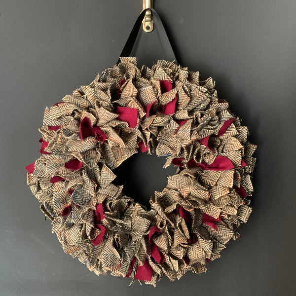 Luxury Harris Tweed Christmas wreath with red highlights