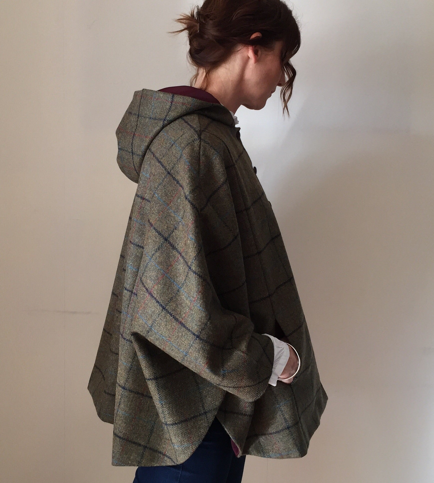 'Iris' Ladies 100% Shetland Wool checked hooded cape - Hand Made in England