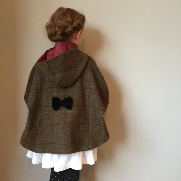 girls cape, girls Tweed cape, girl fashion, girls coat, equestrian cape, brown shetland check cape - Iris