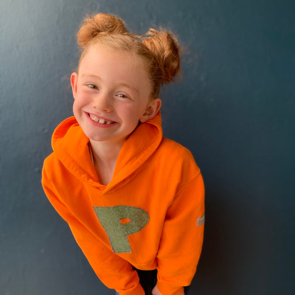 personalised hoodies, boys hoodies, girls hoodie, personalised gifts, design your own hoody - orange personalised initial hoodies