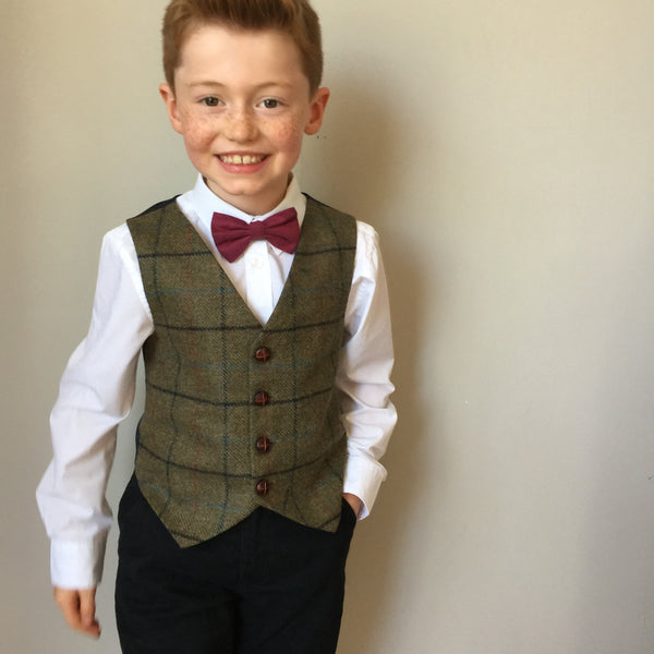 Boys waistcoat, British Tweed waistcoat, pageboy outfit, boys clothing, light brown check waistcoat - Master George
