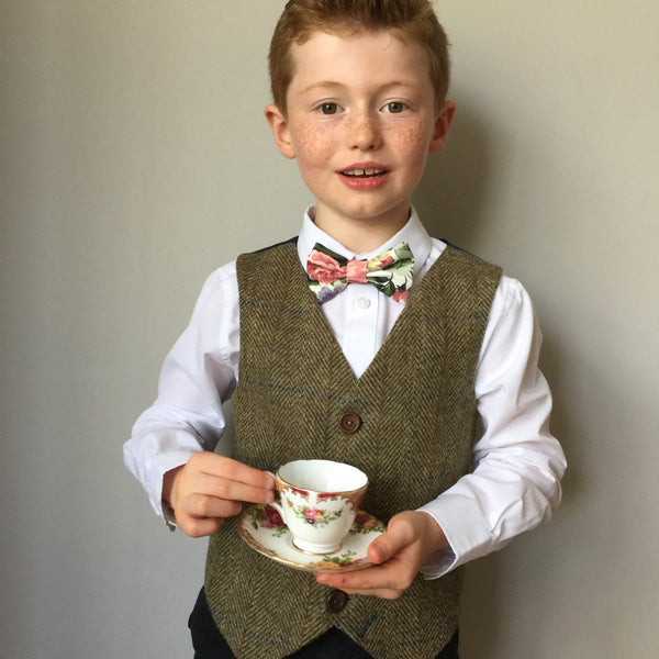 Boys waistcoat, British Harris Tweed waistcoat, pageboy outfit, boys clothing, light green and brown waistcoat - Louis