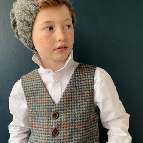 'A.A. Milne' Boys waistcoat handmade in navy dog tooth British Tweed with red over check.