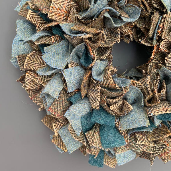 Luxury mini Harris Tweed Christmas wreath in a brown herringbone with highlights of soft blue and teal