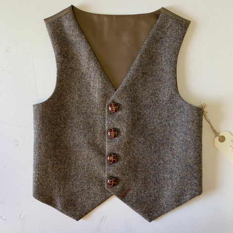 SAMPLE SALE 'Benjamin Button' Boys waistcoat handmade in natural British Tweed size 7-8 years