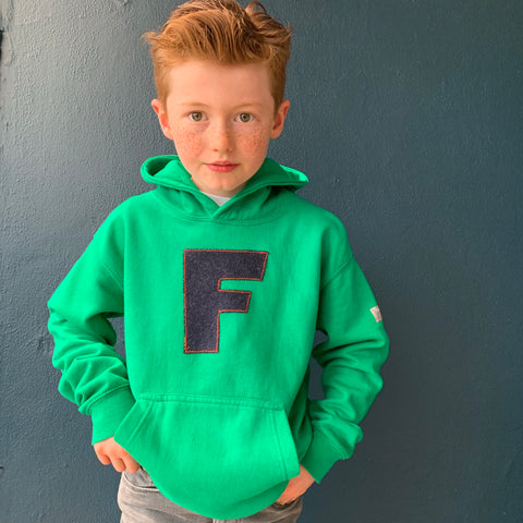 personalised hoodies, boys hoodies, girls hoodie, personalised gifts, design your own hoody - green personalised initial hoodies