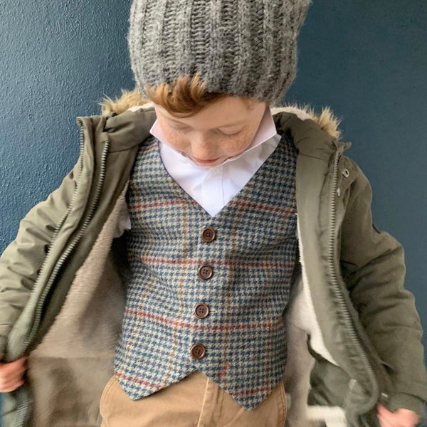 'A.A. Milne' Boys waistcoat handmade in navy dog tooth British Tweed with red over check - limited stock.