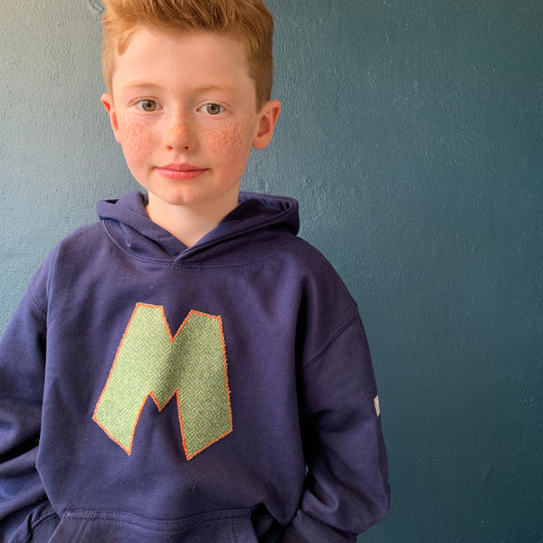 personalised hoodies, boys hoodies, girls hoodie, personalised gifts, design your own hoody - Navy personalised initial hoodies