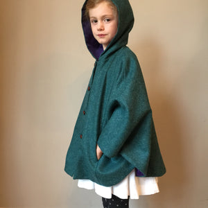 girls cape, girls Tweed cape, girl fashion, girls coat, equestrian cape, teal shetland wool cape - Iris