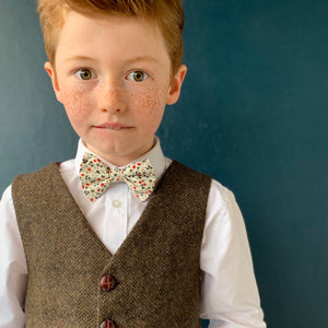 'Orlando' Boys waistcoat handmade in a chocolate brown herringbone British Tweed