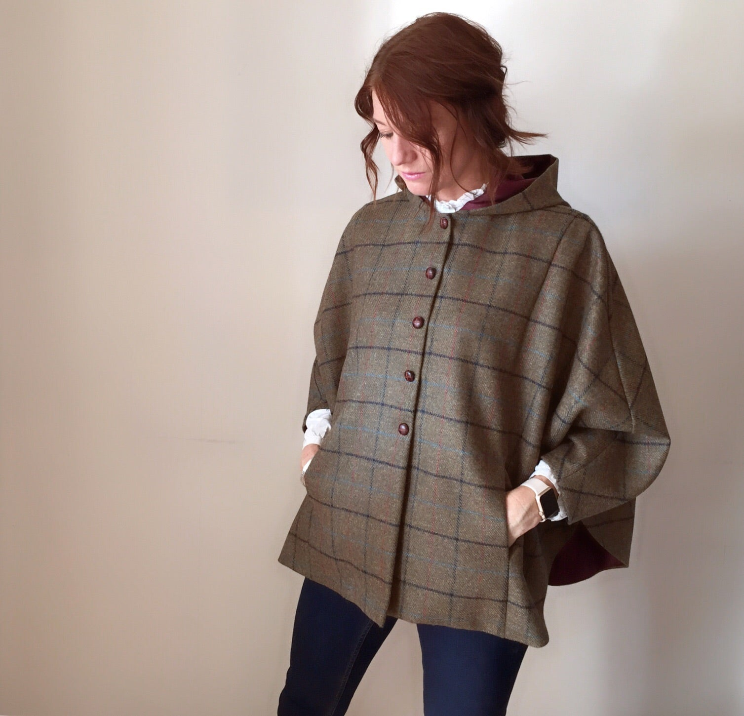 'Iris' Ladies 100% Shetland Wool checked hooded cape - made in 'Master George'