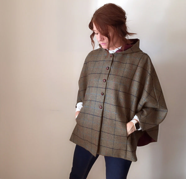 ladies cape, ladies Tweed cape, girl fashion, ladies coat, equestrian cape, brown shetland check cape - Iris