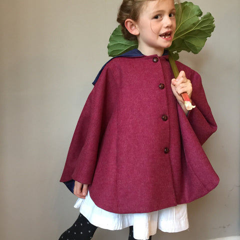 girls cape, girls Tweed cape, girl fashion, girls coat, equestrian cape, mulberry pink shetland cape - Iris