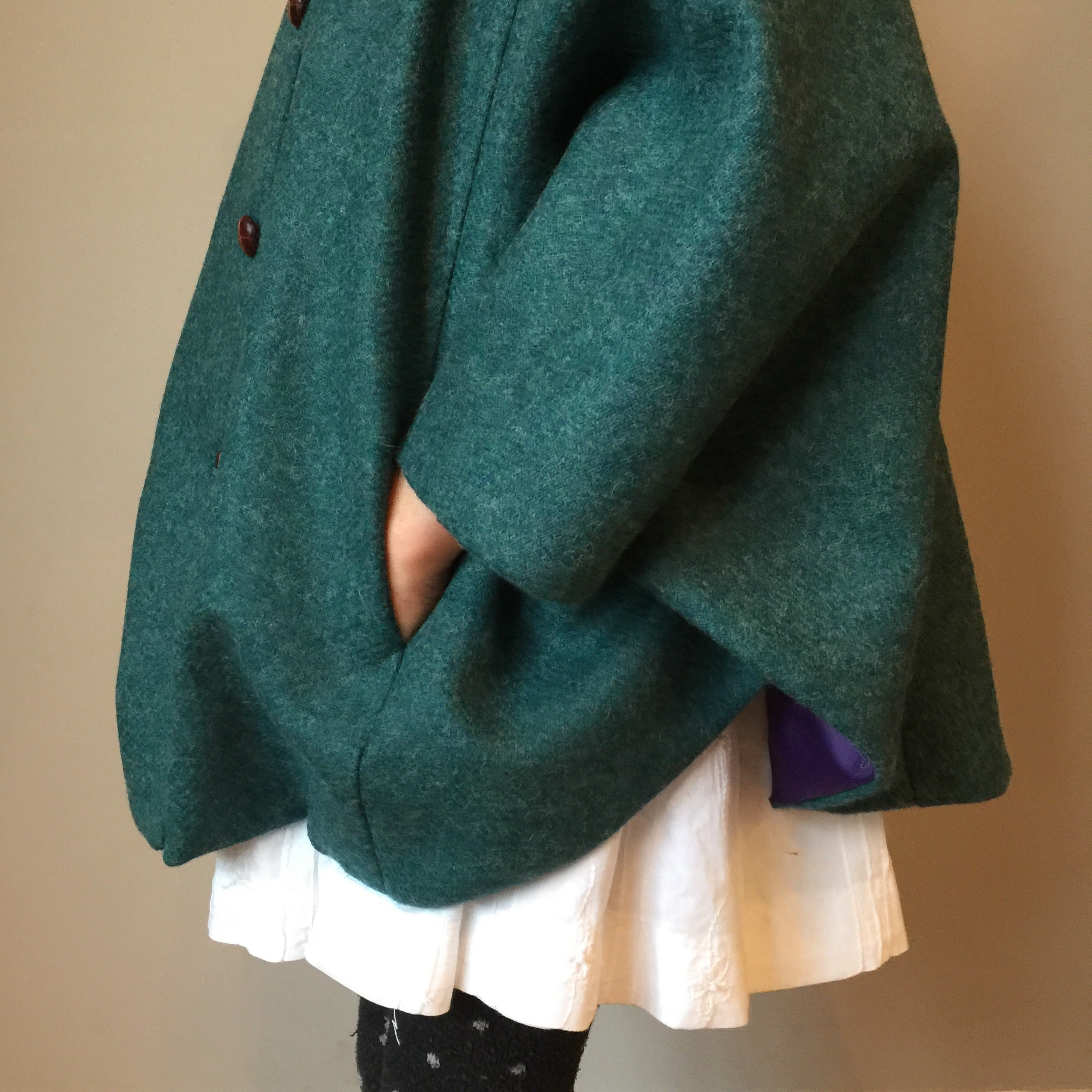'Iris' Girls teal 100% Shetland Wool hooded cape  - Hand Made in England